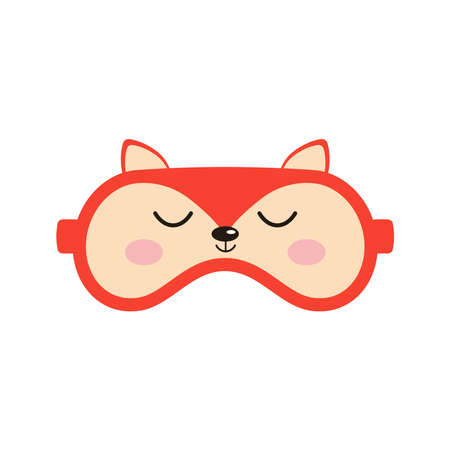 Sleep mask with cute fox face sign. Eye protection wear accessory with animal head - orange fox . Relaxation blindfolds isolated on white background. Eye cover flat design vector illustration. 向量圖像
