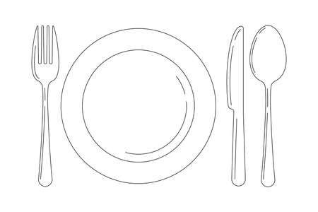 Silverware line art icon set isolated on white background. Top view lineart cutlery - fork knife spoon and serving plate design template. Vector flat design outline style illustration.