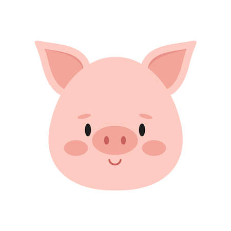 Cute pink pig face isolated on white background. Funny farm and domestic little pig head icon. Flat design cartoon style vector farm animal character portrait illustration. Ilustração Vetorial