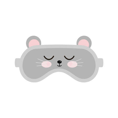 Mouse sleep beauty mask icon isolated on white background. Eye protection wear accessory - cute animal rat with closed eyes. Relaxation blindfold, eye cover flat design cartoon vector illustration.