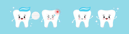 Healthy tooth gives a white pill for a tooth with pain and it is recovering. Flat design cartoon character with dental hurt and pain reliever vector illustration. Teeth cleaning and treatment concept.