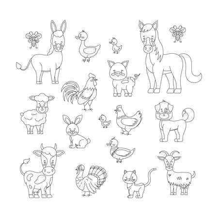 Farm animals and birds line art set isolated on white background. Cute linear livestock poultry character - sheep, goat, cow, donkey, horse, pig. Vector flat editable linear silhouette illustration.