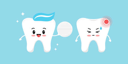 Healthy tooth gives a white pill pain reliever for a tooth with pain. Flat design cartoon character with dental hurt and pain reliever vector illustration. Teeth cleaning and treatment concept. Vektoros illusztráció