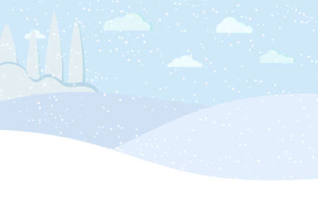 Winter panaramic landscape with blue trees, fields, sky, clouds, snow vector illustration in flat cartoon style. Snowy nature scene background. Illustration