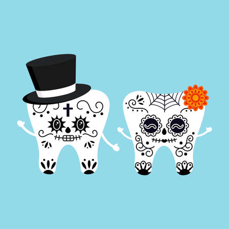 Cute tooth with mexican day of the dead skull makeup costume isolated vector icon set. Illusztráció