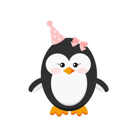 Cute penguin baby girl in happy birthday party cap isolated on white