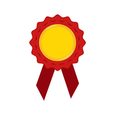 Gold medal with red ribbon and rosette isolated on white background. Champion golden badge - circle winner trophy empty for your design.