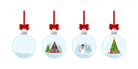 Christmas ball set with snow isolated on white background. Hanging crystal snow ball bauble with decorated house, xmas tree with gifts, snowman. Vector flat cartoon style winter holiday illustration.