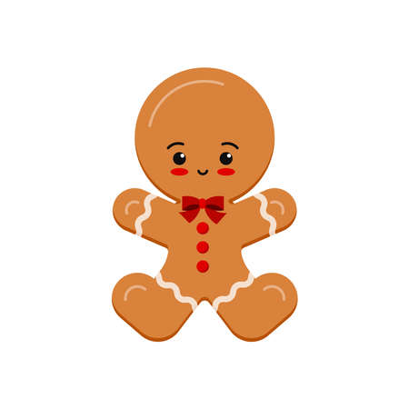 Gingerbread man christmas cookie icon isolated on white background. Cute xmas ginger bread vector flat design illustration. Cartoon style biscuit dessert with decotarion - happy holiday winter treat. Illusztráció