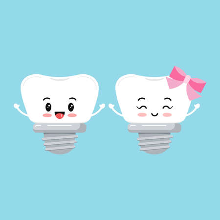 Dental implant tooth orthodontist icon set isolated on background. Cute smilling teeth with implant prosthesis boy and girl sign. Vector flat design cartoon style baby dentistry character illustration Ilustracja