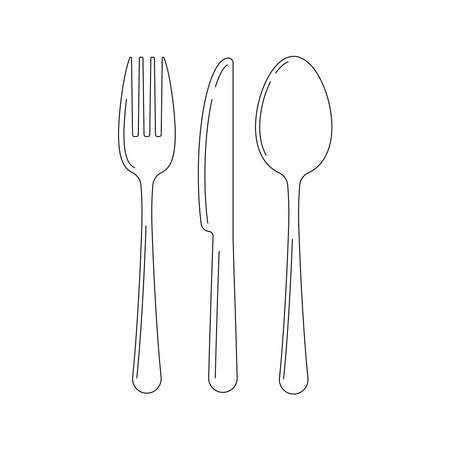 Cutlery line art icon set isolated on a white background. Top view Lineart silverware - fork knife spoon. Illusztráció