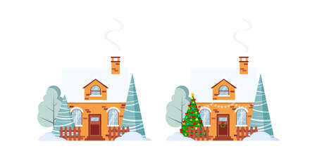 Christmas house decorated and not set isolated on white background. Farm brick house with fence and chimney garland and wreath, christmas tree in cartoon flat style. Vector xmas facade illustration. Illusztráció