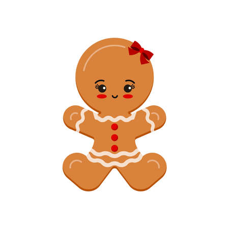 Gingerbread man girl christmas cookie icon isolated on white background. Cute xmas ginger bread vector flat design illustration. Cartoon biscuit dessert with decotarion - happy holiday winter treat. Illusztráció