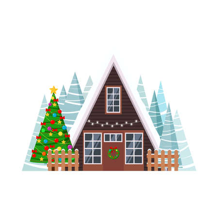 Christmas house facade with spruces isolated on white background. A frame wooden house with fence, garland lights and wreath, christmas tree in cartoon flat style. Vector xmas home illustration. Illusztráció