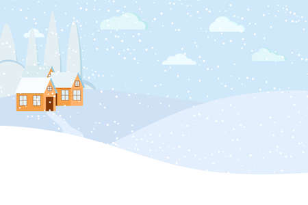 Winter landscape scene with houses and road. Snowy winter day time background. Rural meadow and farm houses on hill. Flat design cartoon style vector illustration. Illusztráció