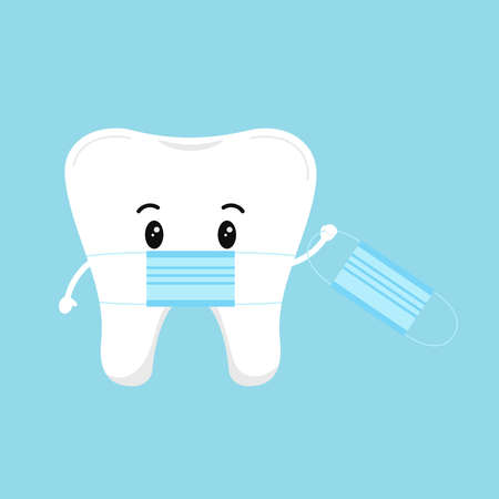 Cute tooth with medical mask holding a protective coronavirus mask isolated on background. Flat design cartoon dental personal hygiene character vector illustration for dentist prevention information.