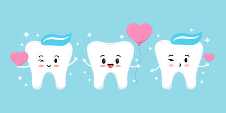 Teeth with heart and sparkles vector dental love icon set. Flat design cartoon smiling tooth character in love for valentines day design illustration. Happy boy hold balloon heart in hand and air kiss