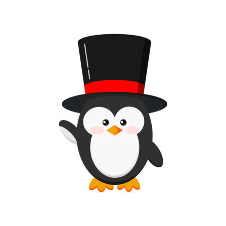 Cute penguin boy in black hat isolated on white background. Elegant clothes baby penguin in a black top hat stand in hi position. Flat funny holiday character vector illustration.