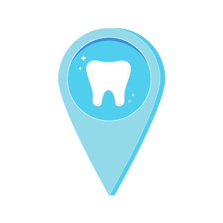 Dental location map pin with tooth inside isolated on white background. Dentist infoghraphic pointer - blue marker of doctor or hospital position navigation. Flat cartoon design vector illustration.