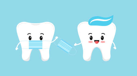 Cute tooth with medical mask give protective virus mask to another tooth with paste on head. Flat design cartoon concept of dental character vector illustration for dentist prevention information.