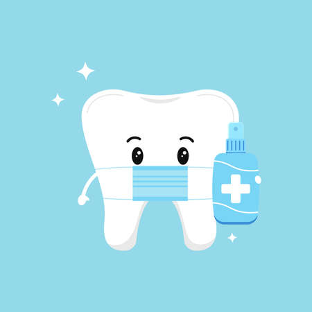 Cute tooth with medical mask and antiseptic isolated on background. Flat design cartoon style personal hygiene and coronavirus or infection prevention and protection character vector illustration. Illusztráció