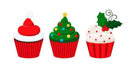 Christmas cupcakes set - cute winter sweets food. Xmas icing muffin santa claus hat, decotared tree, sugar cream with mistletoe in red paper. Flat cartoon holiday party dessert vector illustration. Illusztráció