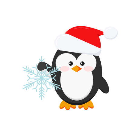 Christmas penguin holding snowflake isolated on white background. Winter penguin in Santa Claus red xmas hat. Flat design cartoon style vector baby bird character illustration. Illusztráció
