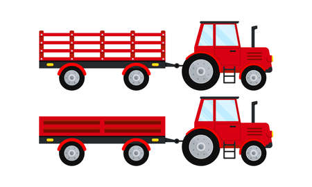 Red farm tractor with open trailer icon set isolated on white background. Red tractor pulling trailers. Flat design cartoon style collection agricultural machine for field work vector illustration.