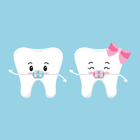 Cute tooth with dental braces character set. Dental braces on white cute smilling teeth treatment concept. Baby boy and girl sign. Vector flat design cartoon style kid tooth mascot illustration.
