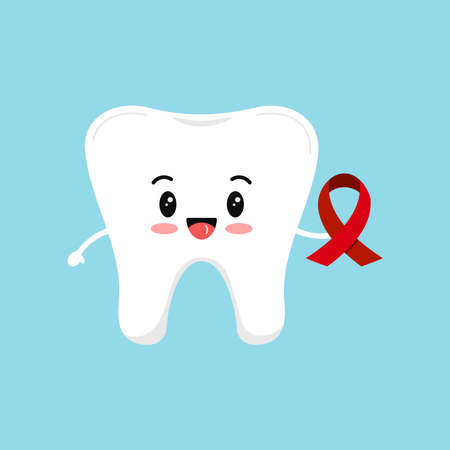 Tooth with red aids ribbon. Vector cute tooth holding hiv awareness sign - support solidarity disease control symbol. World aids day dental prevention concept. Flat design cartoon style illustration. Illusztráció