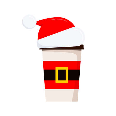 Christmas coffee or tea cup with red santa hat and gold buckle belt isolated white background. Vector flat design cartoon style mug to go illustration. Design element for x-mas card, banner, web.