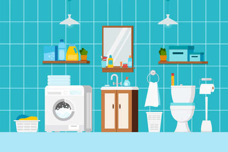 Bathroom interior with furniture, cosmetic beauty products, toilet and washing machine scene. House room with ceramic white toilet bowl, mirror. Flat design cartoon vector background illustration.