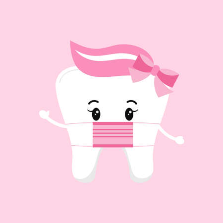 Cute tooth baby girl with medical mask isolated on background. Flat design cartoon style personal hygiene character in surgical mask vector illustration. Children teeth hygiene and treatment concept.
