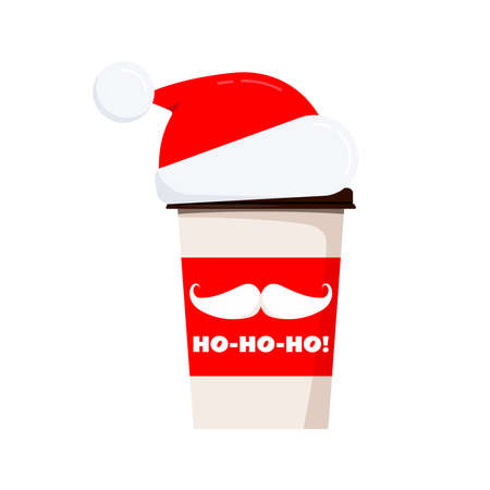 Merry Christmas coffee or tea cup decorated santa claus mustache, ho-ho-ho text isolated on white background. Vector flat style paper winter x-mas drink to go design with santa claus hat illustration.