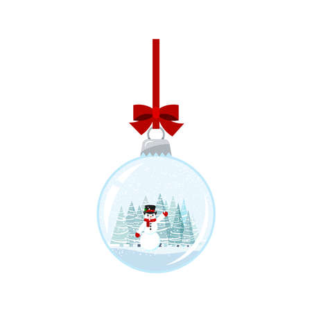 Christmas ball with snowman isolated on white background. Hanging crystal snow ball bauble with snowman in black hat and spruces trees winter lanscape. Vector flat cartoon style holiday illustration.
