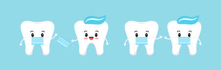 Tooth with medical mask illustration on blue