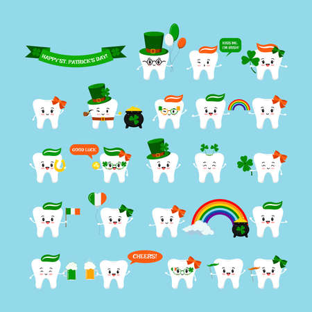 St Patrick cute teeth icon set isolated. Dental tooth character with irish photo booth props - pot, rainbow, horseshoe, beer, clover, pipe, hat, shamrock. Flat design cartoon vector kids illustration. Illusztráció