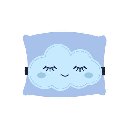 Cute cloud sleep mask on pillow isolated on white background. Baby print night character with closed eyes sleeps and dreams. Good night concept. Flat design cartoon vector illustration.