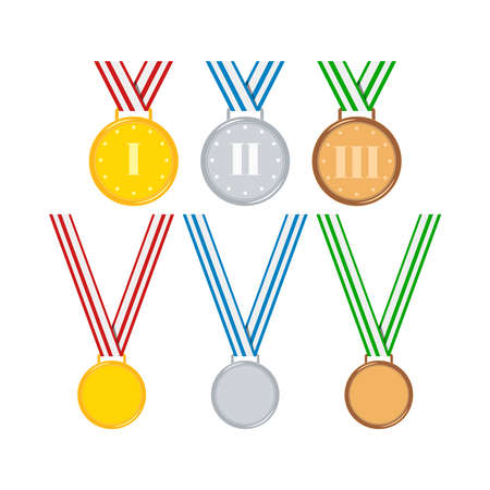 Gold, silver, bronze medals with ribbon set isolated on white background. Cartoon awards badge with red, blue, green ribbon number 1 2 3. Icon of first, second, third place. Vector flat illustration.
