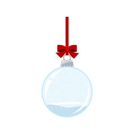 Christmas ball with falling snow isolated on white background. Empty hanging on red ribbon with bow crystal snow ball bauble. Vector flat cartoon style holiday illustration. Illusztráció