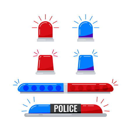 Police car red blue lights set isolated on white background. Police flashers siren vector illustration. Alarm flashing lights collection for ambulance and rescue in flat cartoon style.