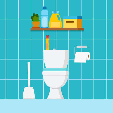 Toilet home room interior with plumbing. WC house or hotel room design with toilet bowl, toilet paper, brush, shelf with cleaning products, air freshener. Vector flat design cartoon style illustration