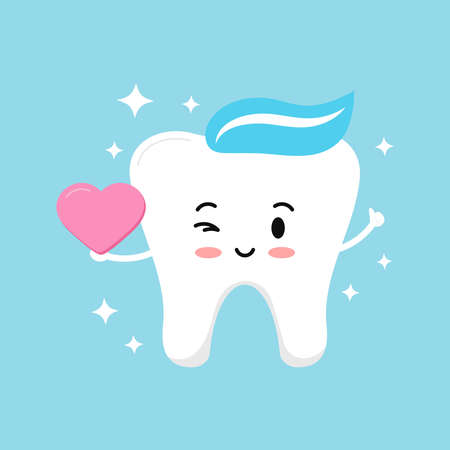 Cute tooth boy with pink heart in hand and sparkles. Flat design cartoon smiling dentat character in love vector illustration. Happy Valentines Day concept - love tooth hold heart and winks.