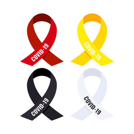 Coronavirus awareness ribbon set isolated on white background. Black, white, red, yellow ribbon with COVID-19 text charity and medical support loop badge. Flat design health care vector illustration.