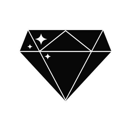 Black diamond icon isolated on white background. Vector shiny brilliant crystal for jewels logo. Flat design, simple style silhouette of gemstone quality sign illustration. Illusztráció
