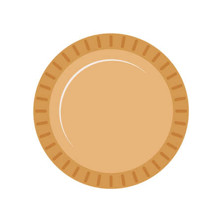 Plate eco pack for fast food isolated on white background. Empty kraft brown plate for take away restaurant. Flat design cartoon style vector paper tableware illustration.