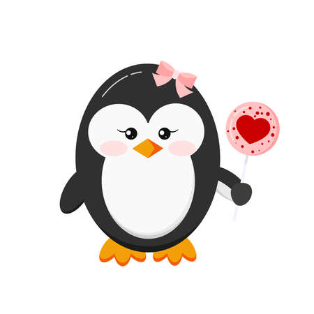 Cute penguin girl holding sugar lollipop isolated on white background. Lovely penguin with candy lollypop with red heart decoration. Flat design cartoon style vector baby bird character illustration. Illusztráció