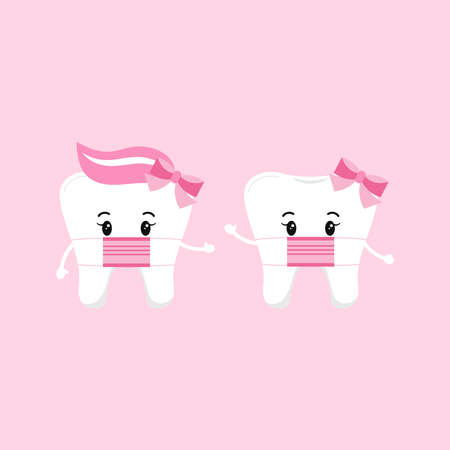 Cute tooth girl wear medical mask set isolated on background. Flat design cartoon style personal hygiene character collection vector illustration. Children baby teeth hygiene and prevention concept.
