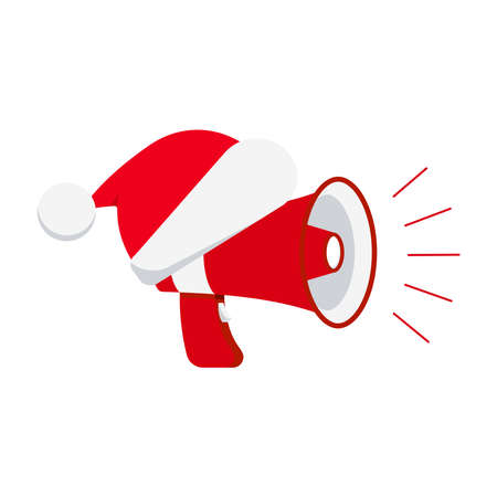 Megaphone with red christmas hat icon isolated on white background. Loudspeaker sign with Santa Clause hat for x-mas sale advertising. Flat design cartoon style news announcement vector illustration. Illusztráció