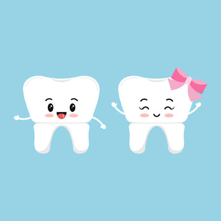 Dental crown cute tooth icon set isolated on background. Cute smilling teeth with crown prosthesis boy and girl sign. Vector flat design cartoon style baby dentistry character illustration. Illusztráció